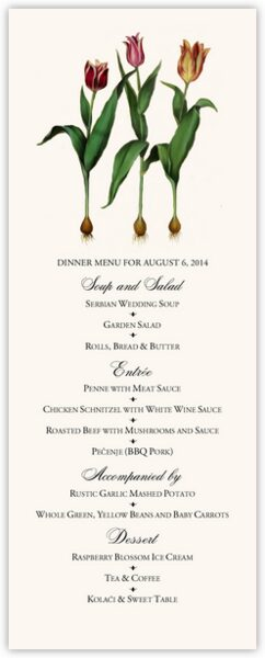 Tulip Bulbs Wedding Menus