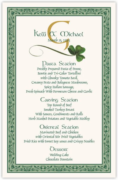 Wispy Shamrock Wedding Menus