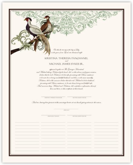 Asian Peace Birds Wedding Certificates
