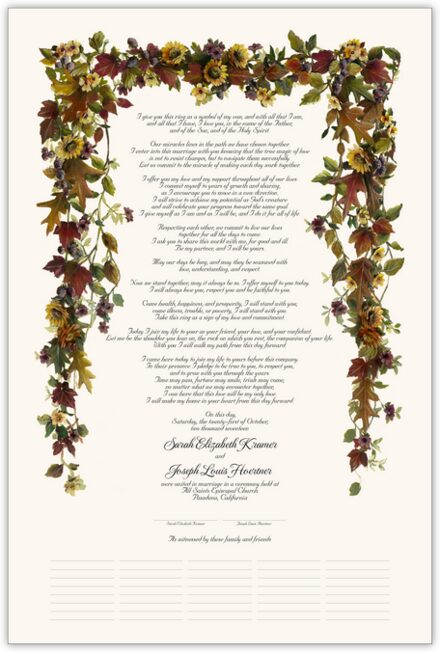 Autumn Leaves and Sunflowers Wedding Certificates