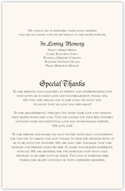 Blackletter Gothic Wedding Programs