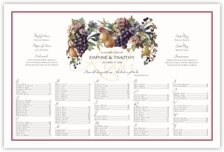 Blue Grapes and Pears Seating Charts