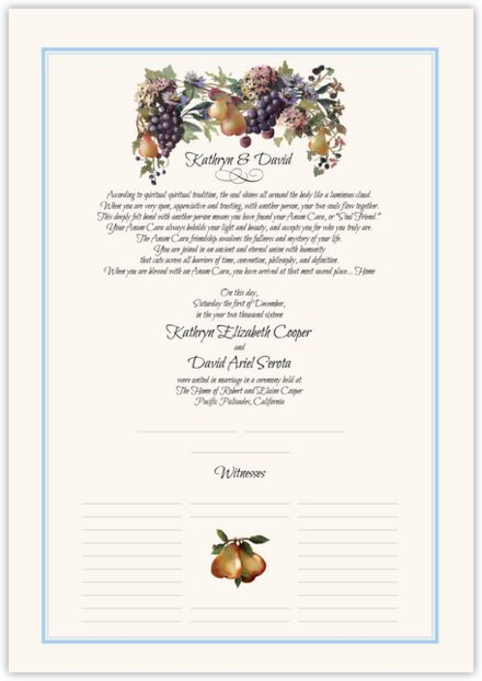 Blue Grapes and Pears Wedding Certificates