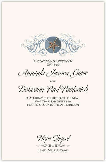 Blue Sand Dollar Wedding Programs