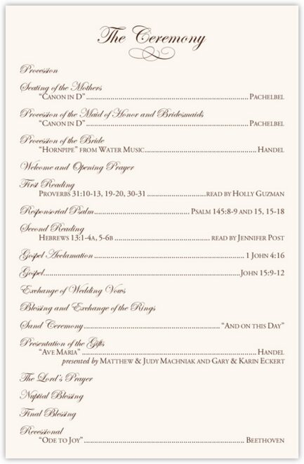 Brown Birds Wedding Programs