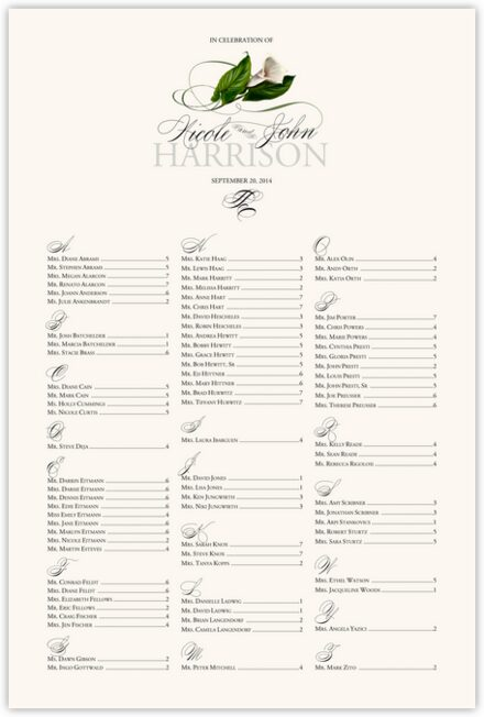 Calla Lily Swirl Wedding Seating Chart with Flower