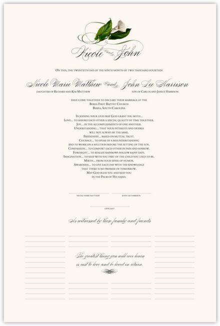 Calla Lily Swirl 01 Wedding Certificates