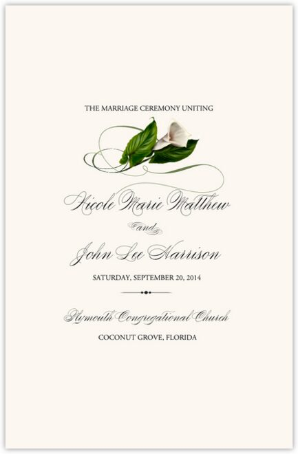Calla Lily Swirl 02 Wedding Programs
