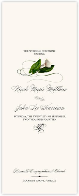 Calla Lily Swirl Wedding Programs