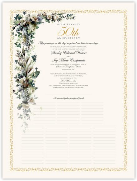 Calla Lilies and Gardenias Wedding Certificates