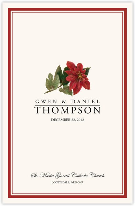 Poinsettia Wedding Programs