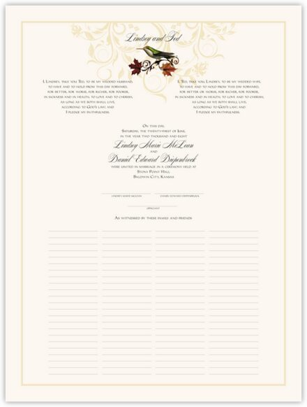 Fall Indy Flourish Wedding Certificates