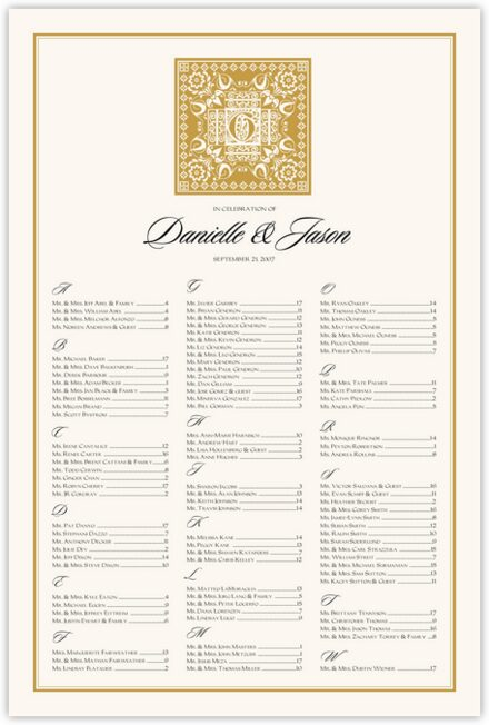 Floral Paisley Pattern Seating Charts