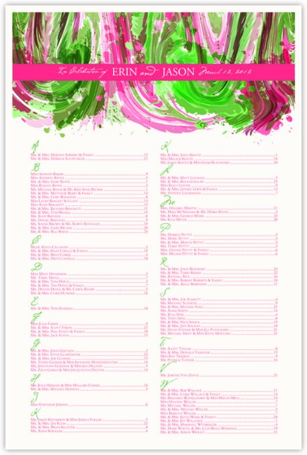 Fuschia and Celadon Colorful Abstraction Seating Charts
