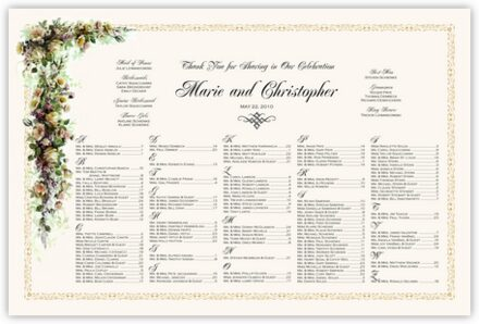 Ivory Roses and Daisies Seating Charts
