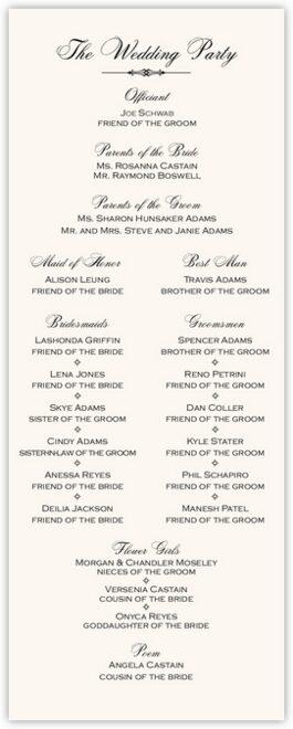 Only Calligraphy Wedding Programs