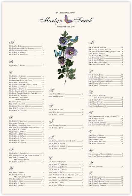 Pansies and Butterflies Seating Charts