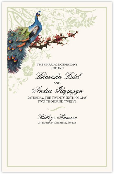 Peacock in a Plum Tree Wedding Programs