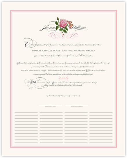 Pink Tea Rose Wedding Certificates