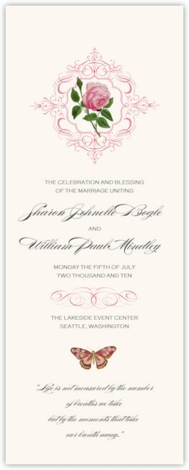 Pink Tea Rose Wedding Programs