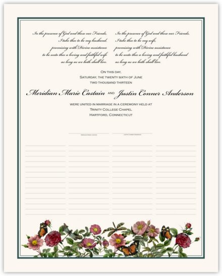 Rose Garden Wedding Certificates
