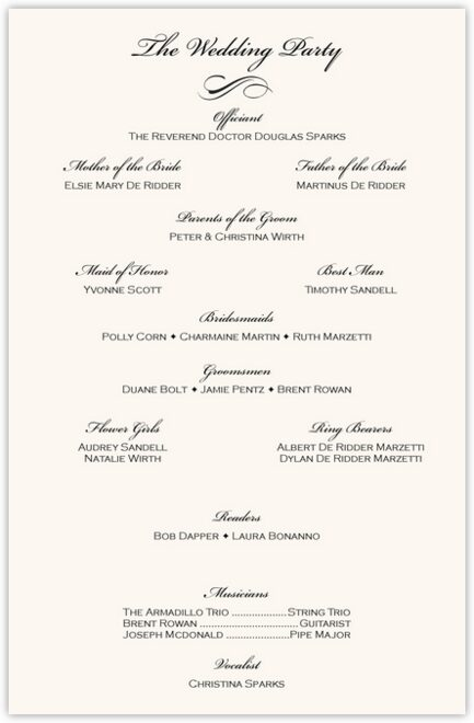 Rose Garden Wedding Programs