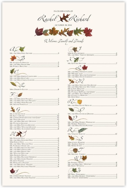 Simple Leaves Seating Charts