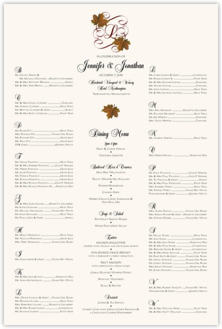 Sugar Maple Leaf Flourish Seating Charts