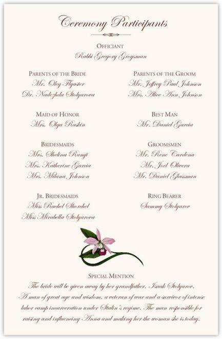 Tropical Flowers Cascade Wedding Programs