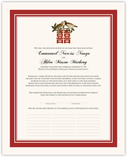 Two Birds Double Happiness Wedding Certificates