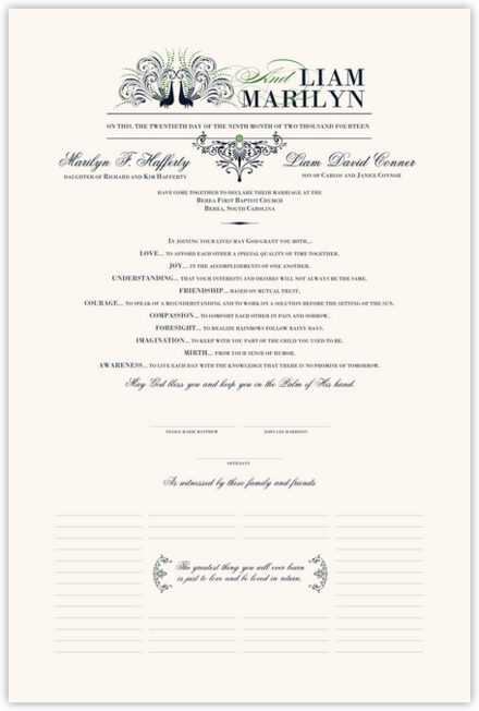 Passionate Peacock 01 Wedding Certificates