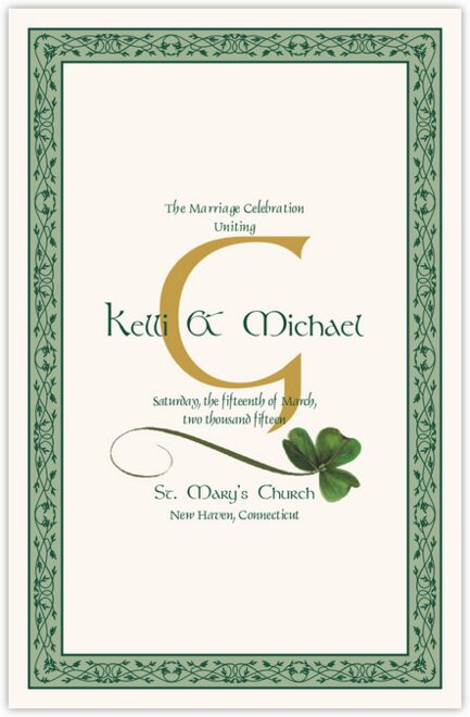 Wispy Shamrock Wedding Programs