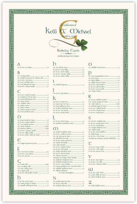 Wispy Shamrock Seating Charts