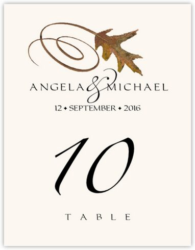 White Oak Swirly Leaf Table Numbers