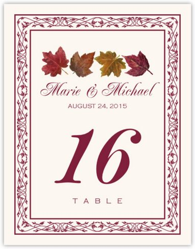 Maple Leaf Pattern Table Numbers