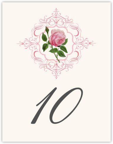 Pink Tea Rose Table Numbers
