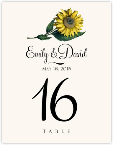Sunflower Table Numbers
