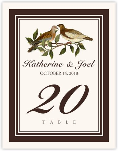 Two Brown Birds Table Numbers
