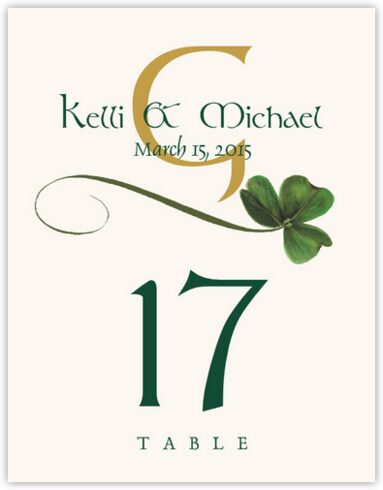 Wispy Shamrock Table Numbers