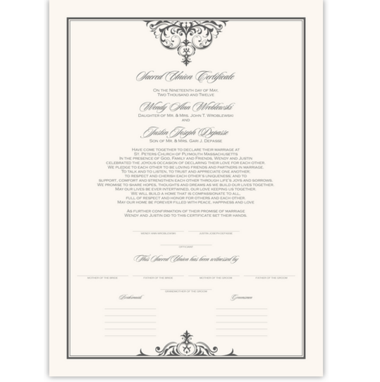 Abbey Cocktail 01 Contemporary and Classic Wedding Certificates