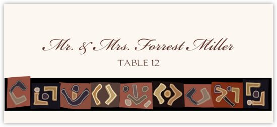 African Kuba Pattern 2 African Inspired Wedding Place Cards