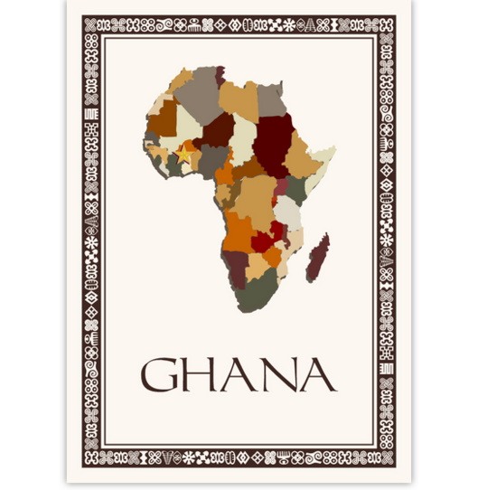 African Map Table Name with Adinkra Border