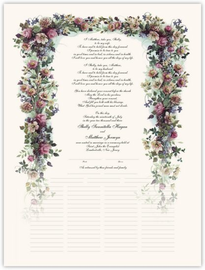 Antique Pinks Flower Wedding Certificates