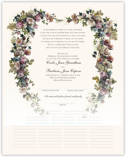 Antique Pinks Heart Flower Wedding Certificates
