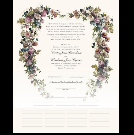 Antique Pinks Heart Flower Wedding Certificates