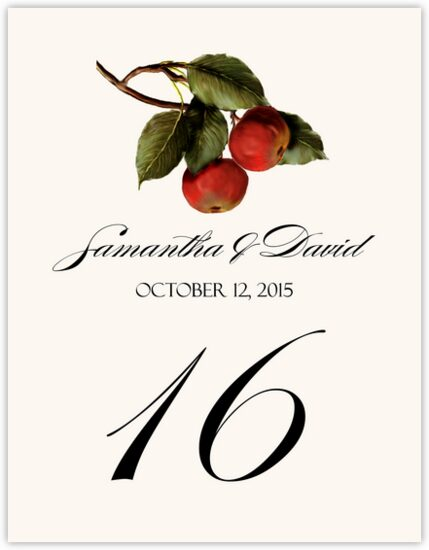 Apples Fruit and Grape Table Numbers
