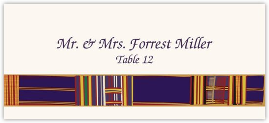 Asante Kente African Inspired Wedding Place Cards