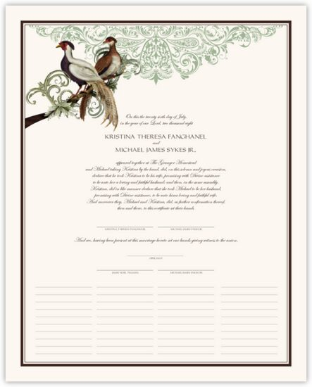 Asian Peace Birds Birds and Butterflies Wedding Certificates