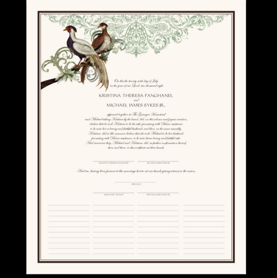 Asian Peace Birds Birds and Butterflies Wedding Certificates