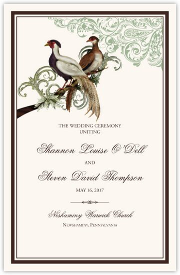 Asian Peace Birds Birds and Butterflies Wedding Programs